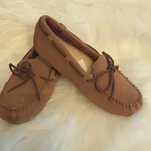Ugg Suede slip on shoes with bow
